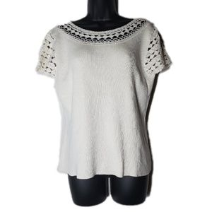 Christopher & Banks Hand Crochet White Knit Top